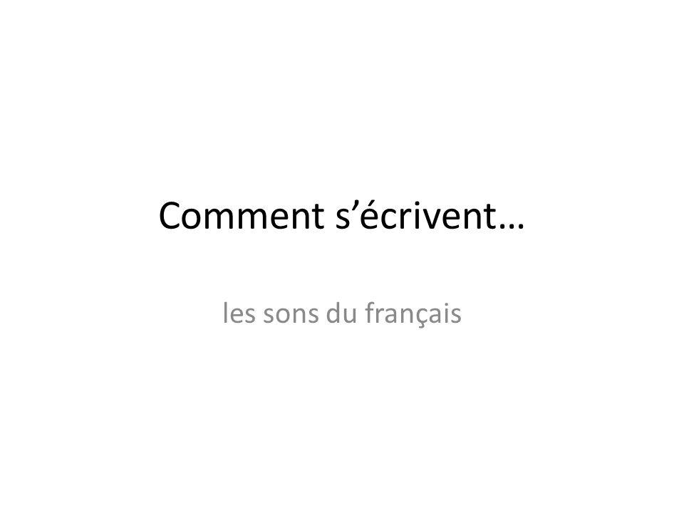 Comment s'écrivent… les sons du français