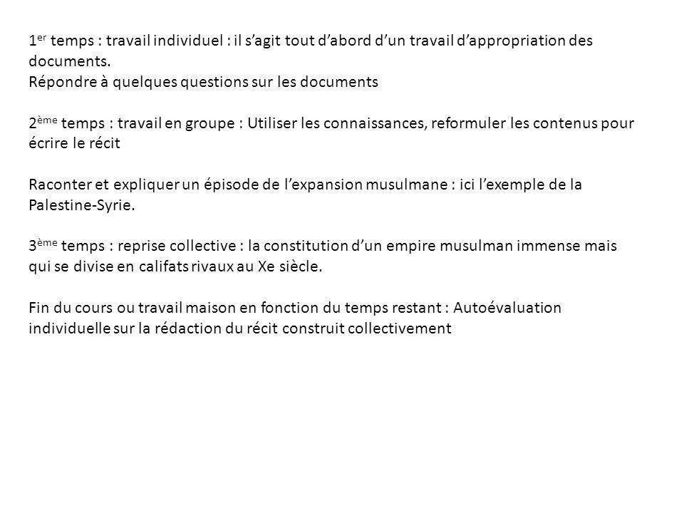 1er temps : travail individuel : il s'agit tout d'abord d'un travail d'appropriation des documents.