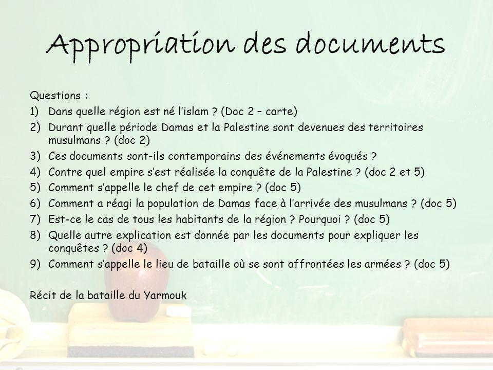 Appropriation des documents