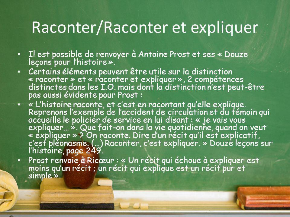 Raconter/Raconter et expliquer