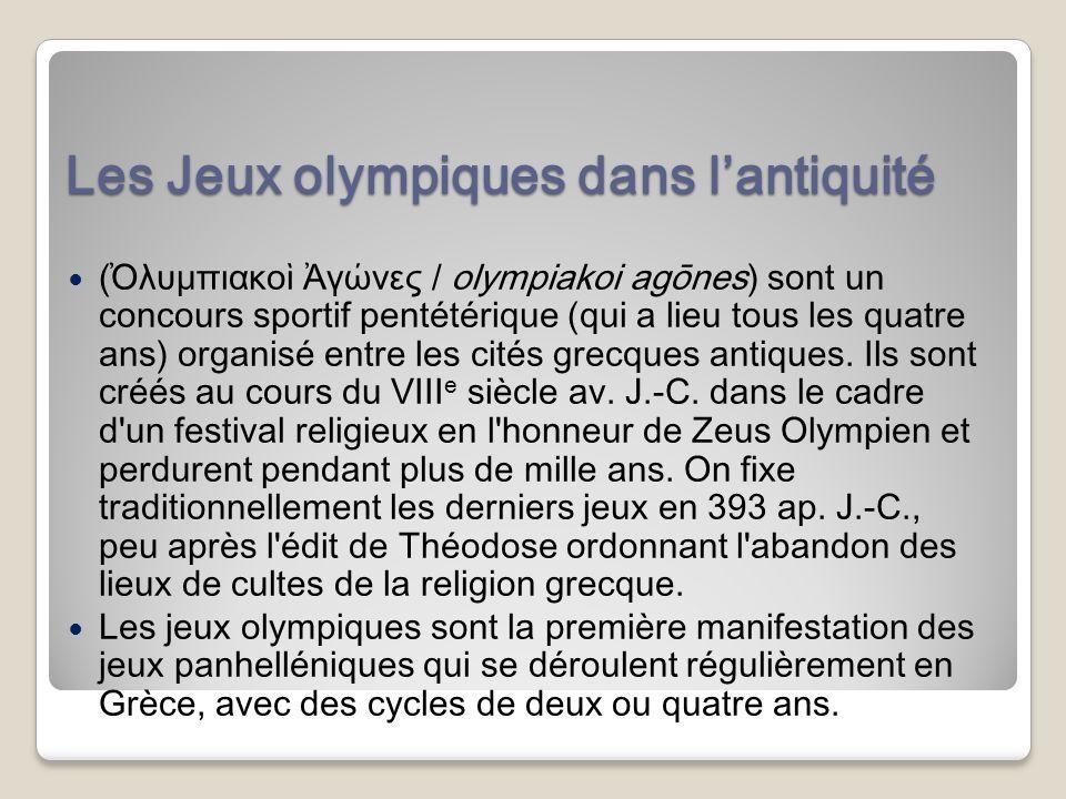 Les Jeux olympiques dans l'antiquité