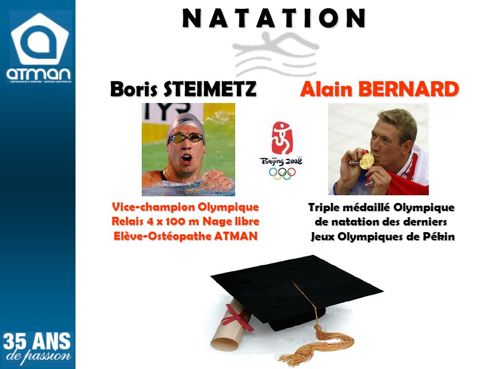 N A T A T I O N Boris STEIMETZ Alain BERNARD Vice-champion Olympique