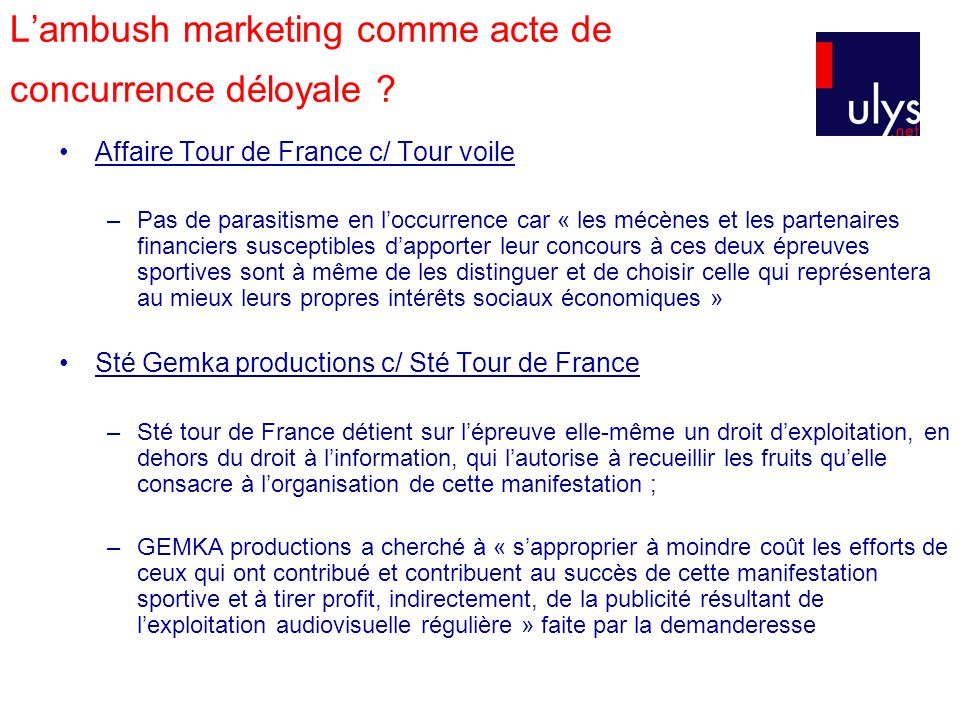 L'ambush marketing comme acte de concurrence déloyale