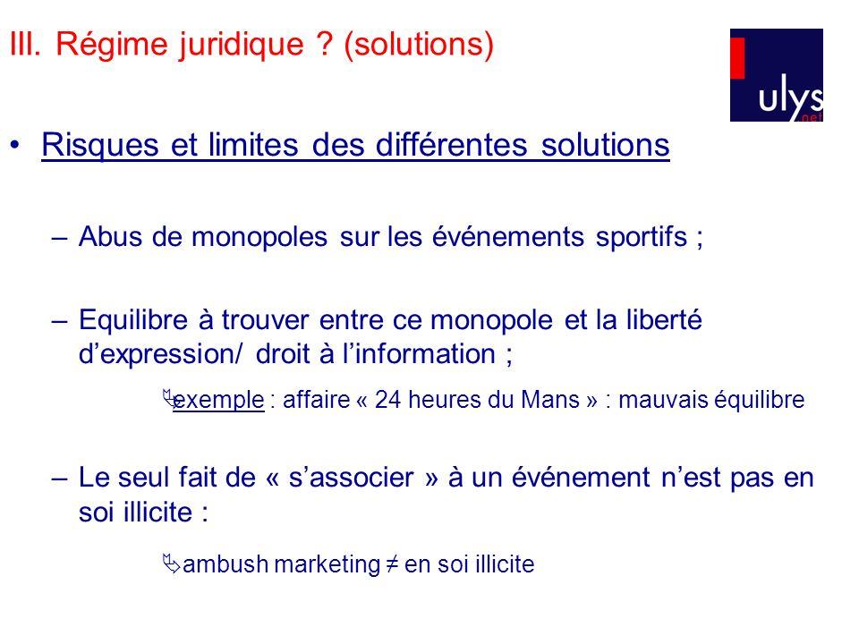 III. Régime juridique (solutions)