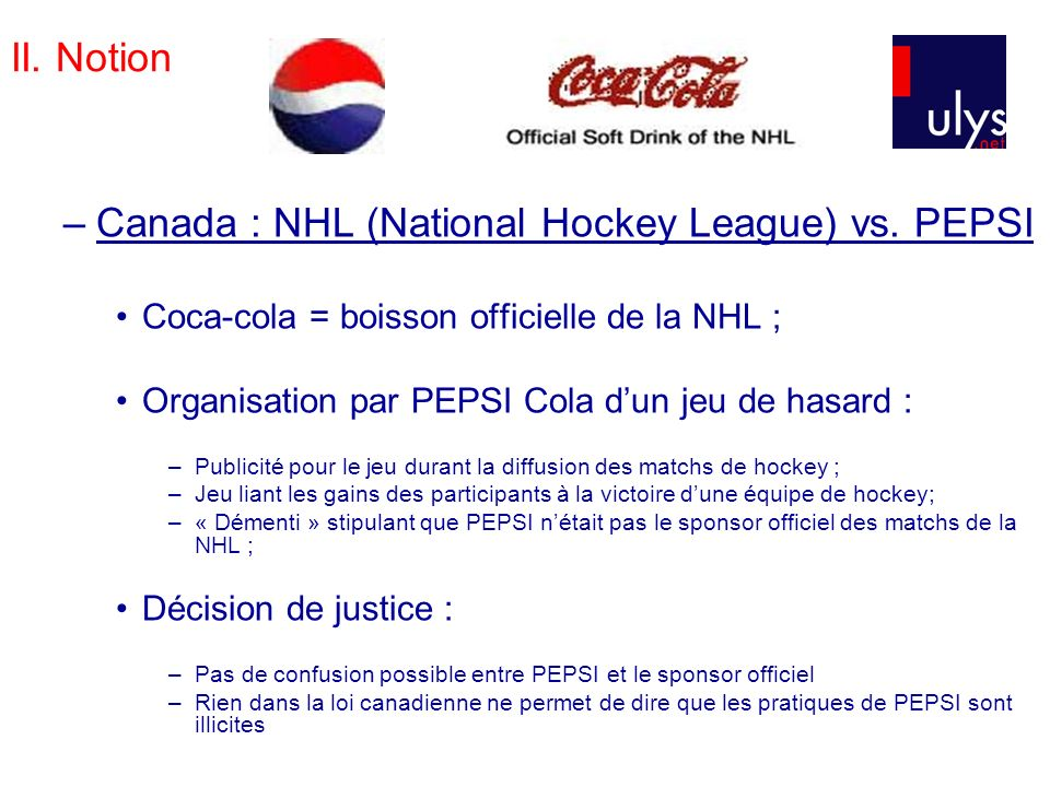 Canada : NHL (National Hockey League) vs. PEPSI