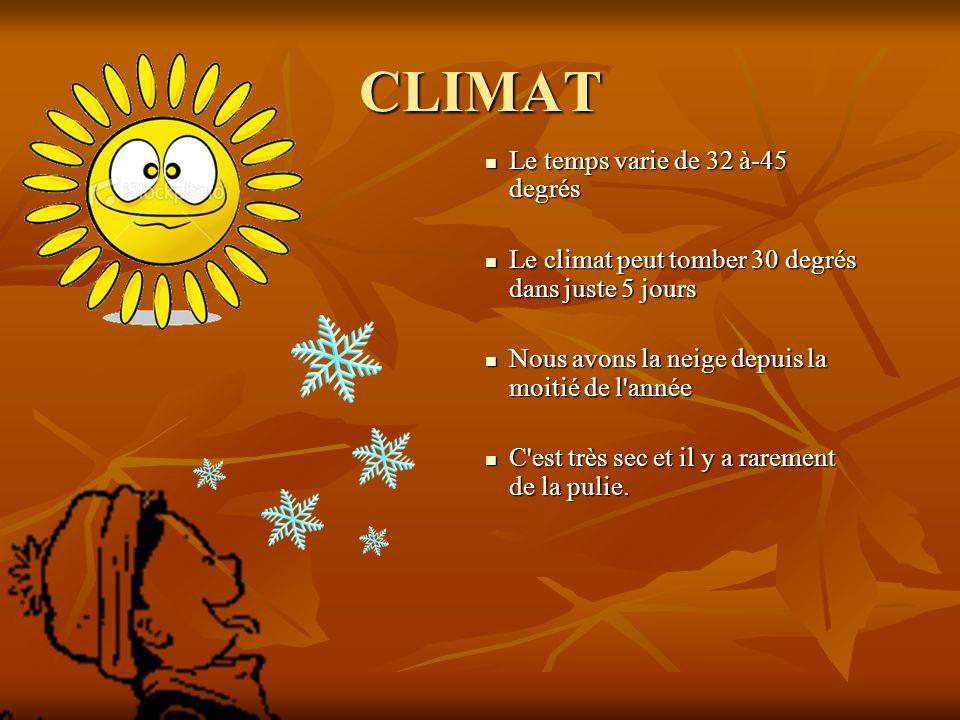 CLIMAT Le temps varie de 32 à-45 degrés