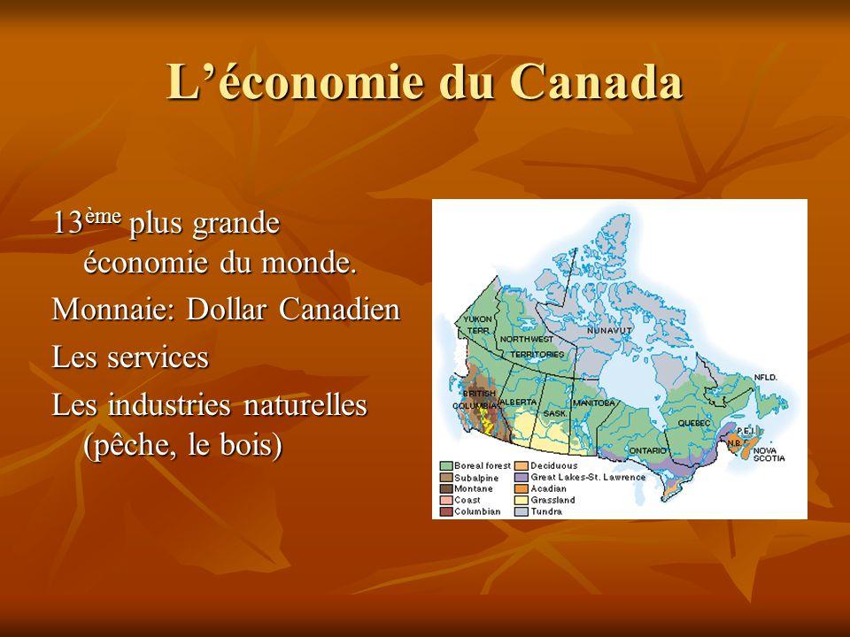 L'économie du Canada 13ème plus grande économie du monde.