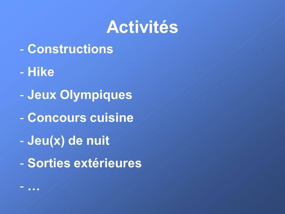 Activités Constructions Hike Jeux Olympiques Concours cuisine