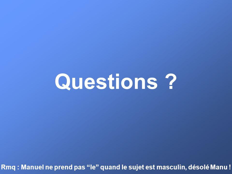Questions Rmq : Manuel ne prend pas le quand le sujet est masculin, désolé Manu !