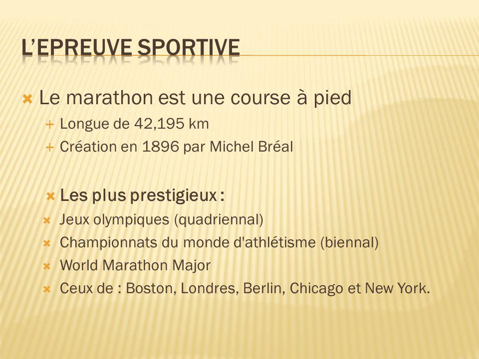 L'epreuve sportive Le marathon est une course à pied
