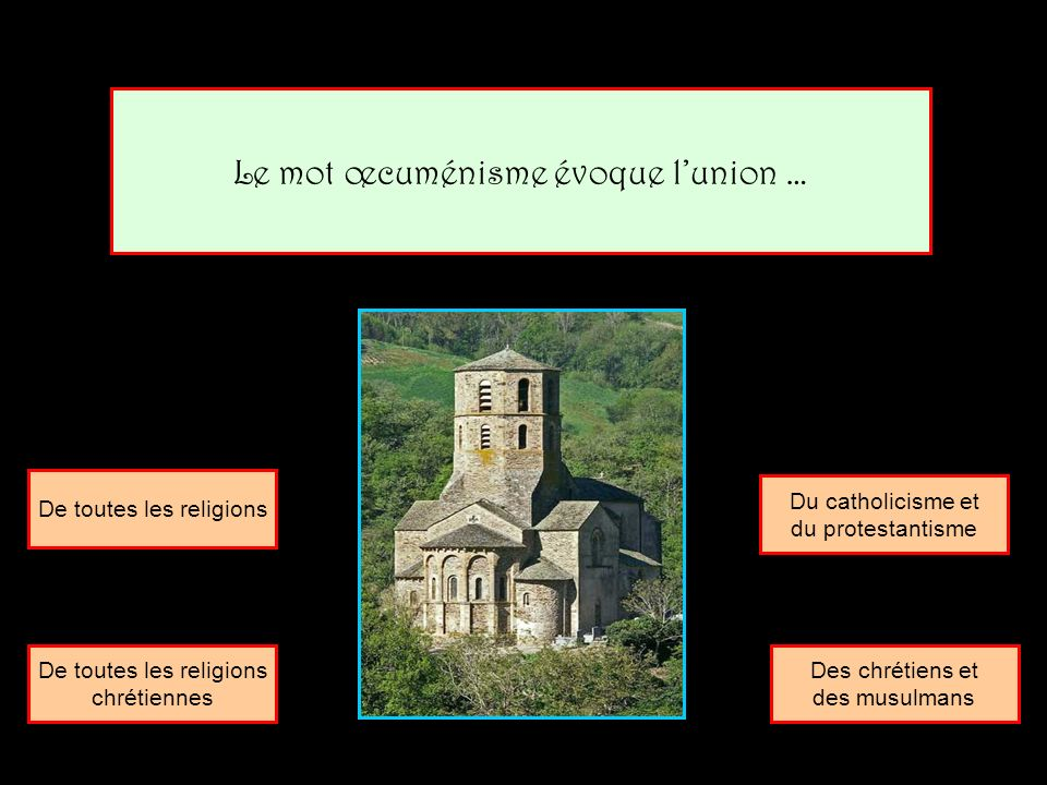 Le mot œcuménisme évoque l'union …