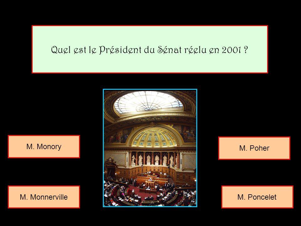Quel est le Président du Sénat réelu en 2001