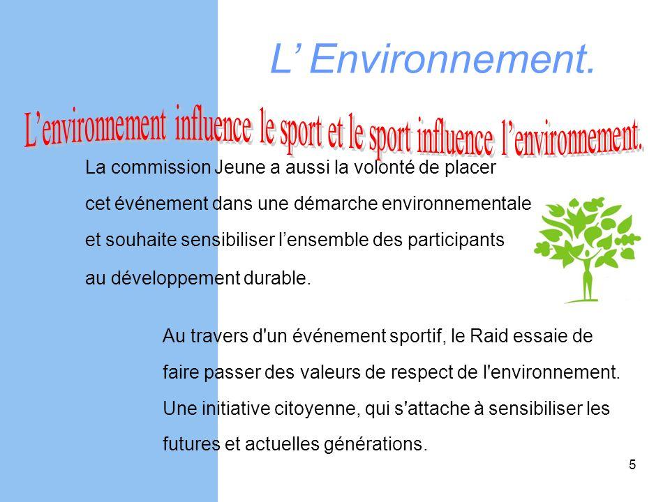 L' Environnement. L'environnement influence le sport et le sport influence l'environnement. La commission Jeune a aussi la volonté de placer.
