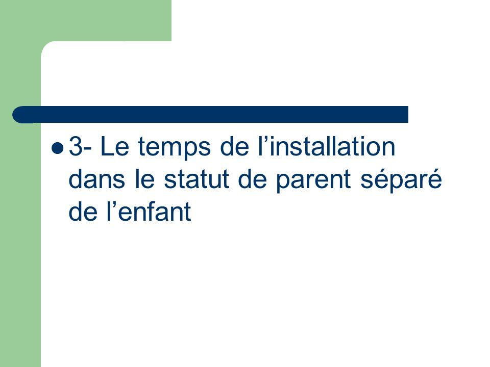 3- Le temps de l'installation dans le statut de parent séparé de l'enfant