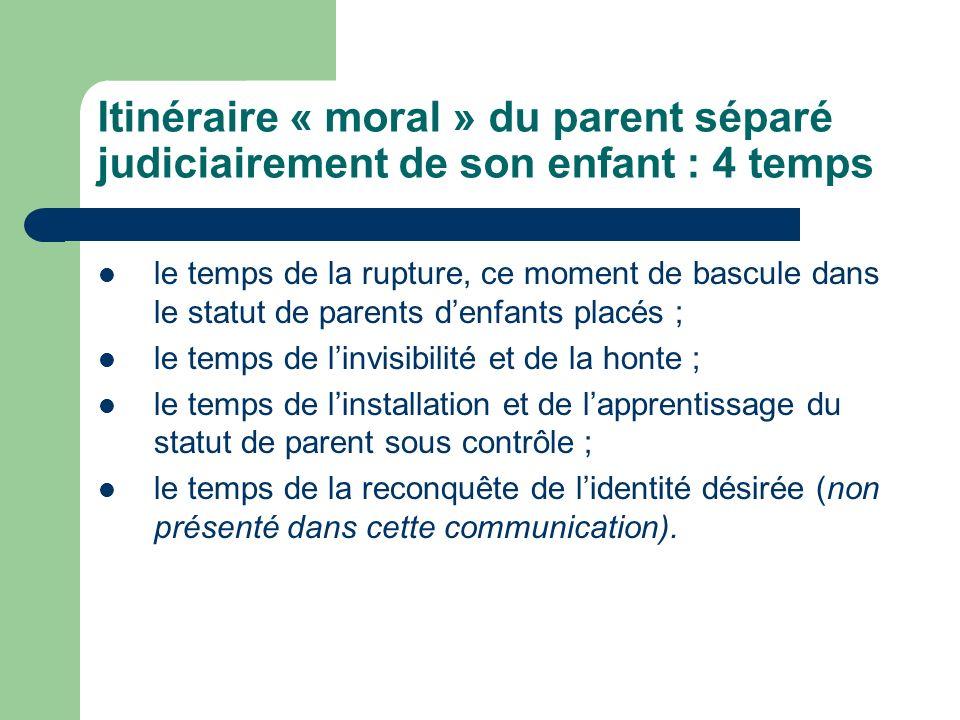 Itinéraire « moral » du parent séparé judiciairement de son enfant : 4 temps
