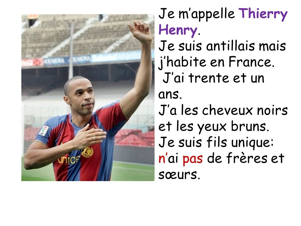 Je m'appelle Thierry Henry.