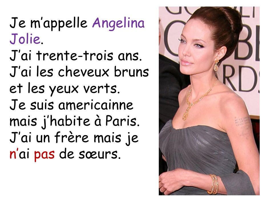 Je m'appelle Angelina Jolie.