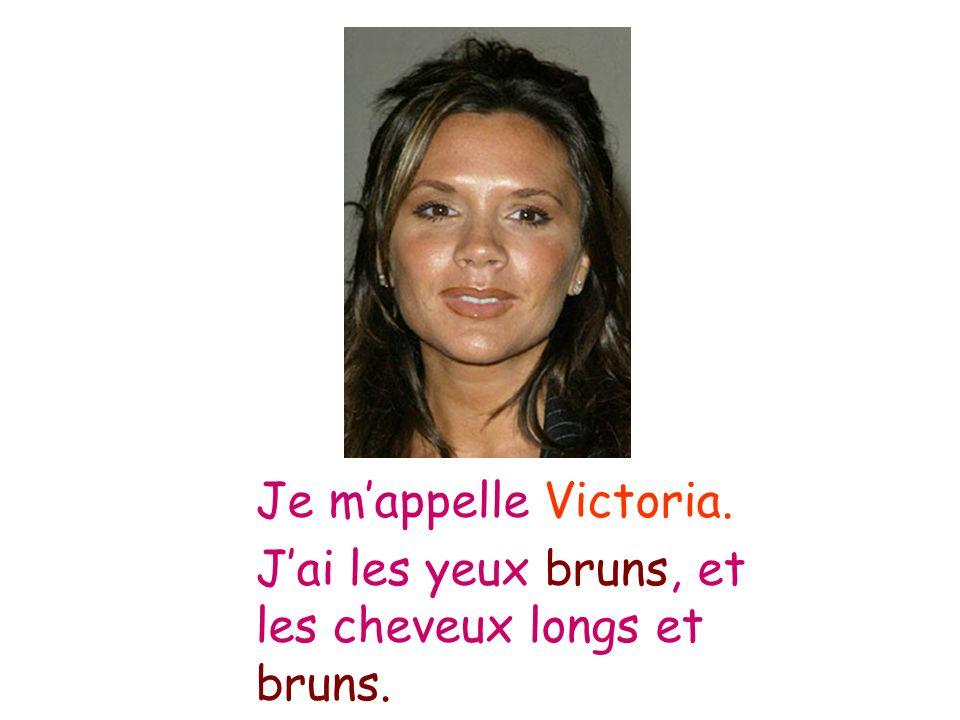Je m'appelle Victoria. J'ai les yeux bruns, et les cheveux longs et bruns.