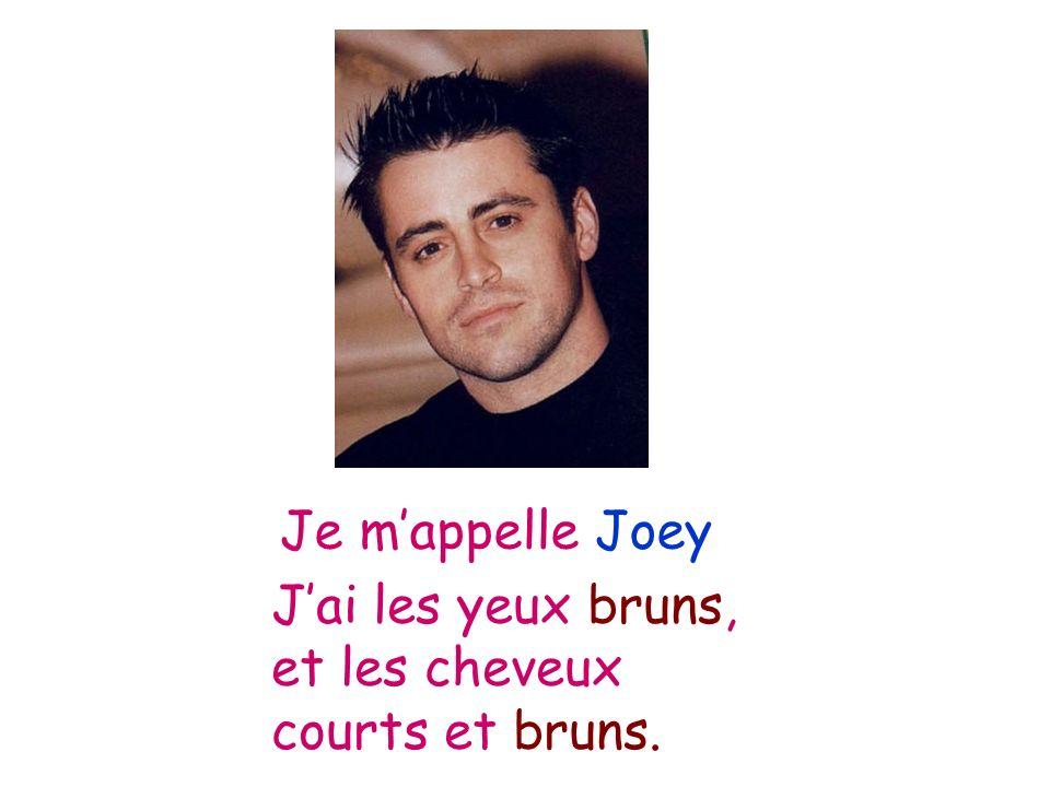 Je m'appelle Joey J'ai les yeux bruns, et les cheveux courts et bruns.