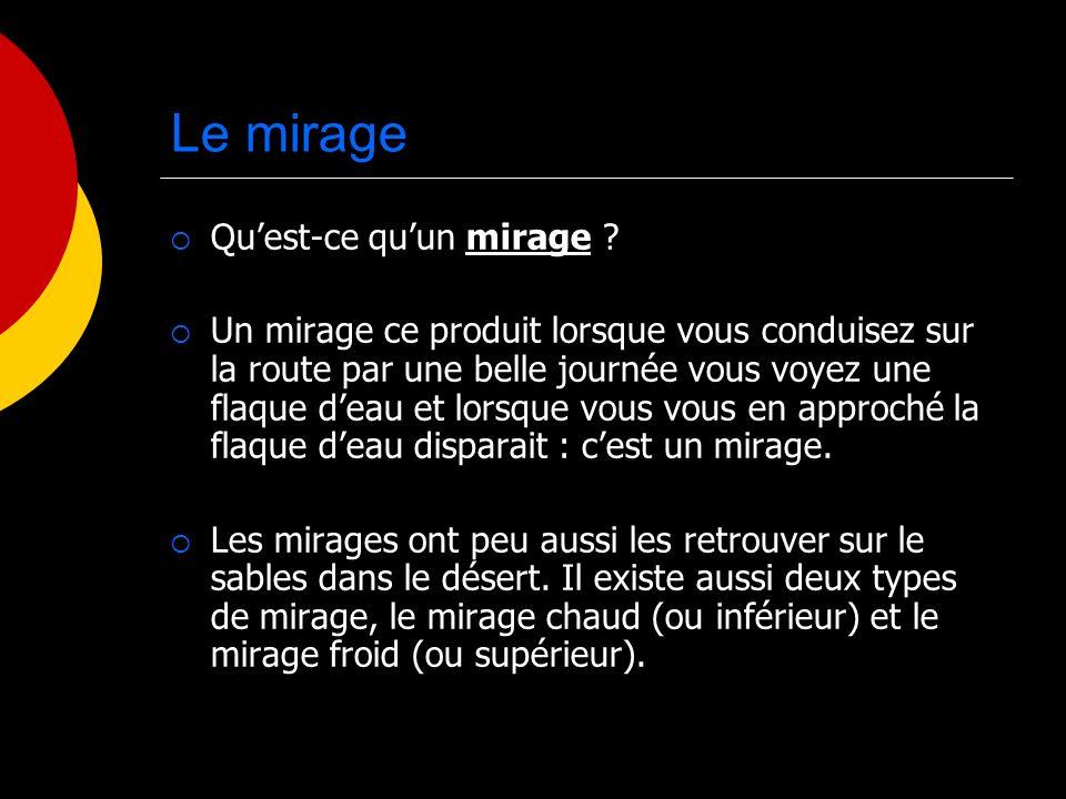 Le mirage Qu'est-ce qu'un mirage