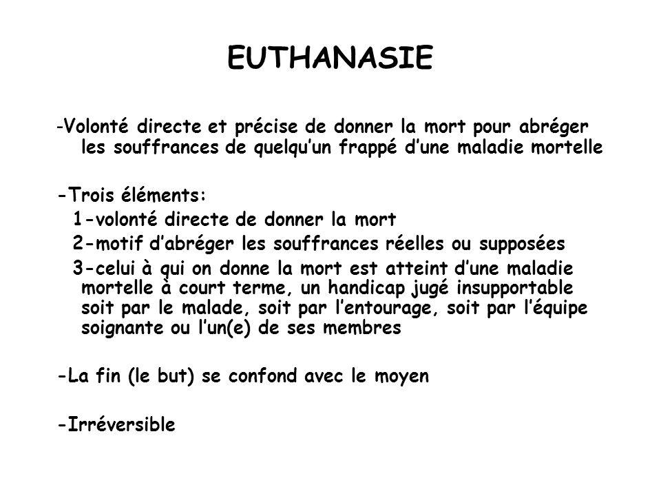 EUTHANASIE -Volonté directe et précise de donner la mort pour abréger les souffrances de quelqu'un frappé d'une maladie mortelle.