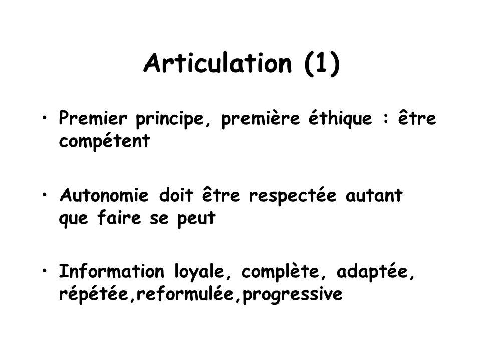 Articulation (1) Premier principe, première éthique : être compétent