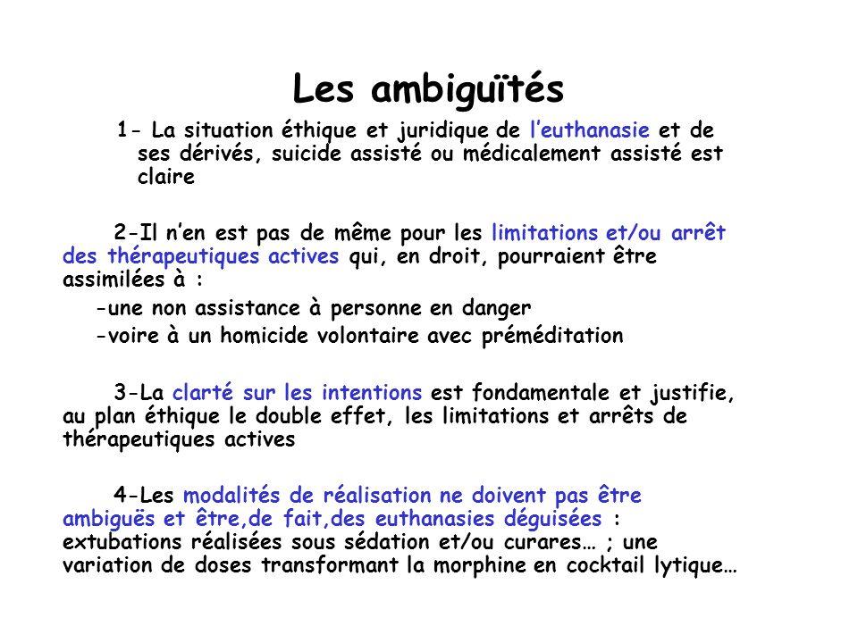 Les ambiguïtés 1- La situation éthique et juridique de l'euthanasie et de ses dérivés, suicide assisté ou médicalement assisté est claire.