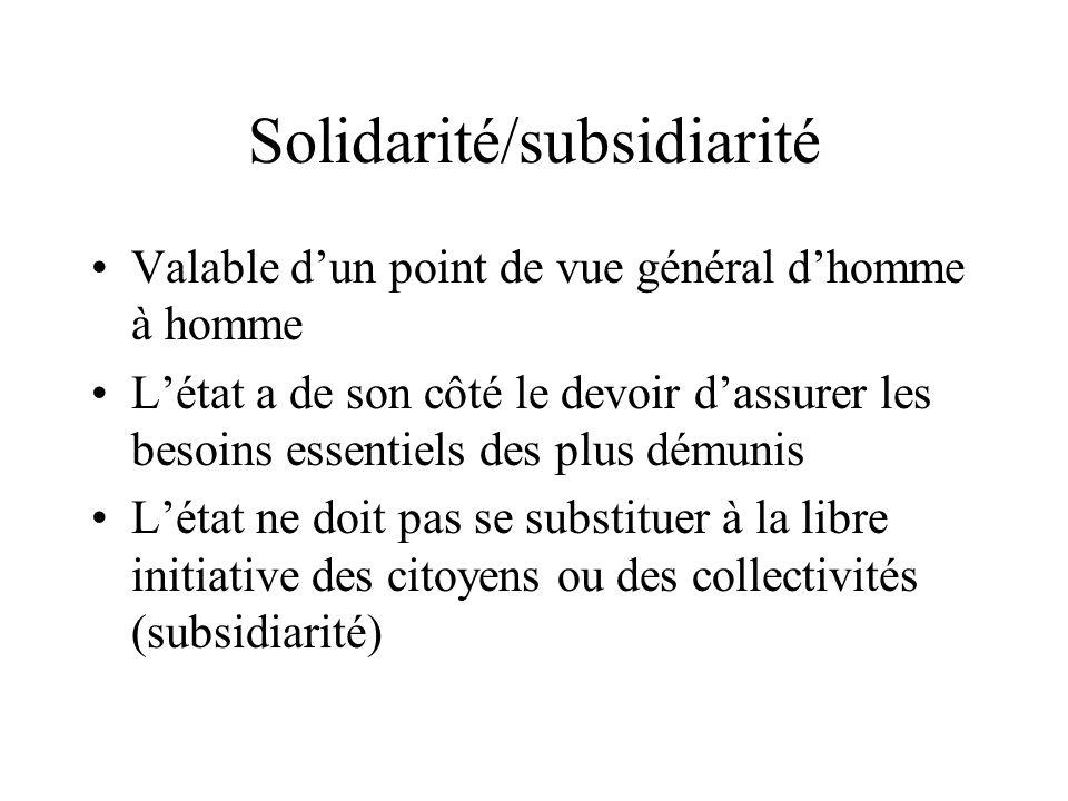 Solidarité/subsidiarité