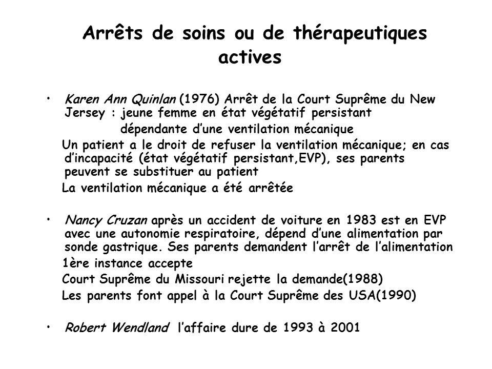 Arrêts de soins ou de thérapeutiques actives