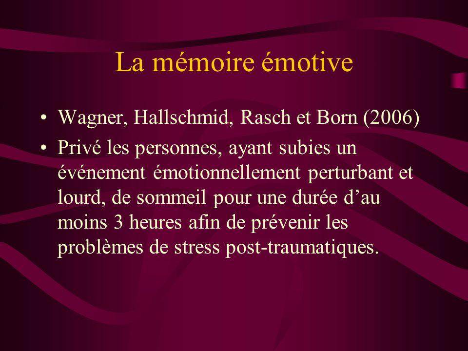 La mémoire émotive Wagner, Hallschmid, Rasch et Born (2006)