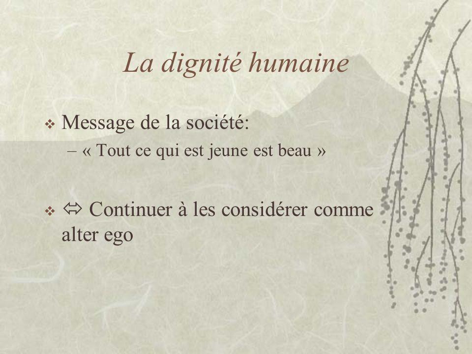 La dignité humaine Message de la société: