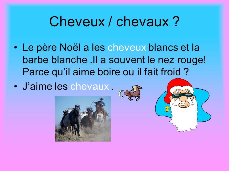 Cheveux / chevaux Le père Noël a les cheveux blancs et la barbe blanche .Il a souvent le nez rouge! Parce qu'il aime boire ou il fait froid