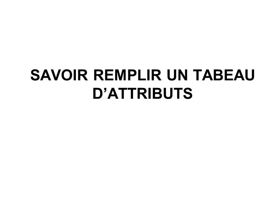 SAVOIR REMPLIR UN TABEAU D'ATTRIBUTS