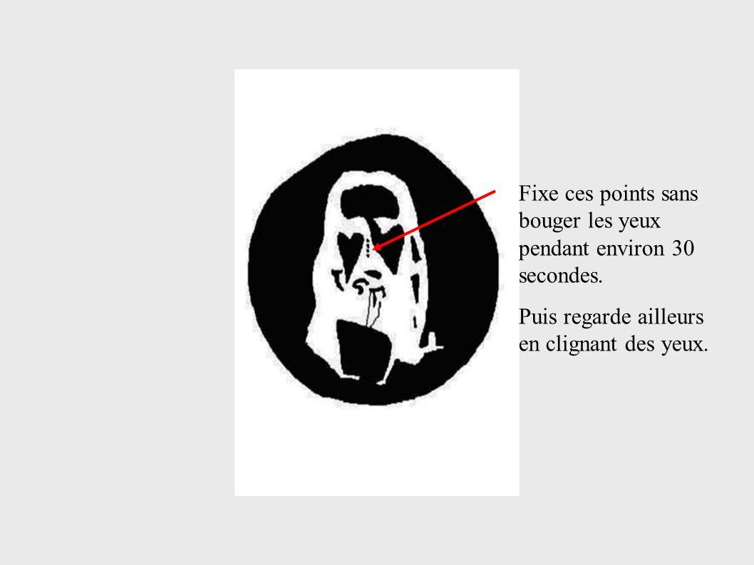 Fixe ces points sans bouger les yeux pendant environ 30 secondes.
