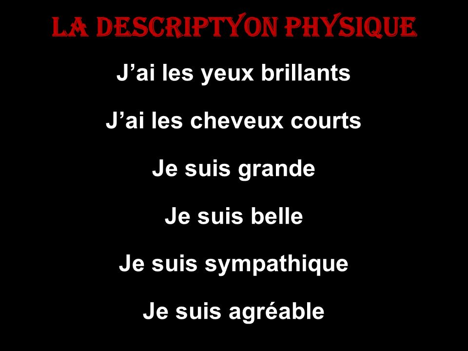 La descriptyon Physique