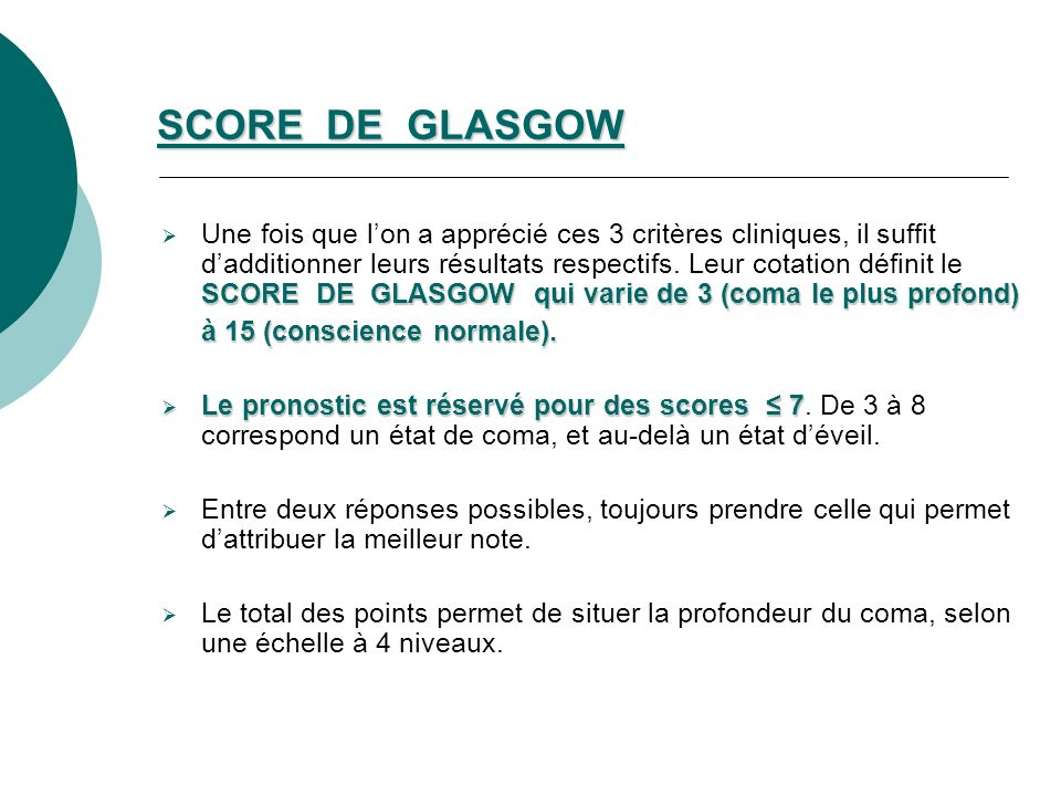SCORE DE GLASGOW