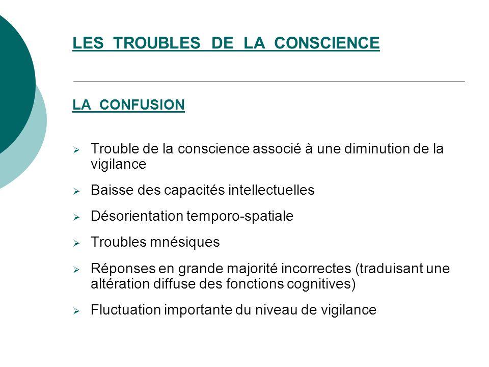 LES TROUBLES DE LA CONSCIENCE
