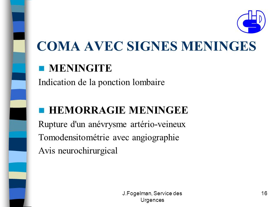 COMA AVEC SIGNES MENINGES