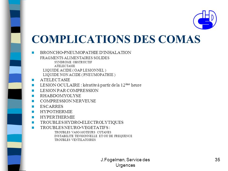 COMPLICATIONS DES COMAS