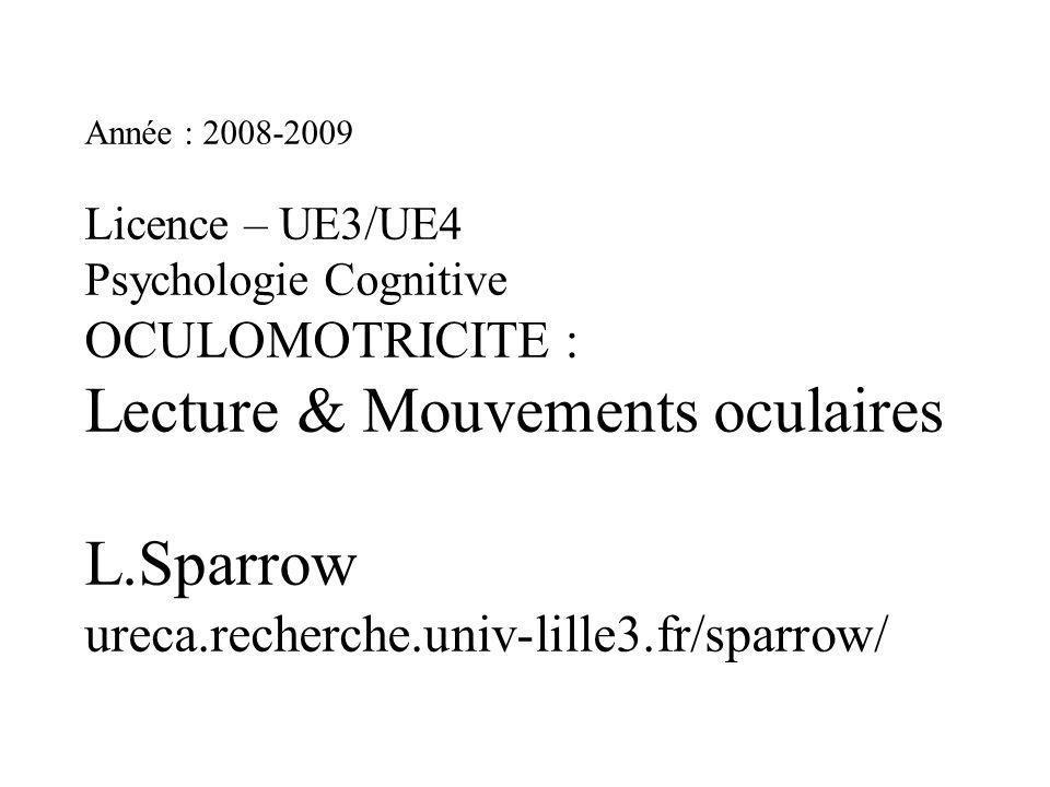 Année : 2008-2009 Licence – UE3/UE4 Psychologie Cognitive OCULOMOTRICITE : Lecture & Mouvements oculaires L.Sparrow ureca.recherche.univ-lille3.fr/sparrow/
