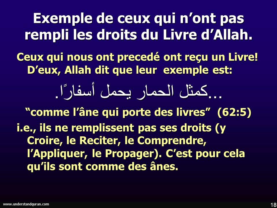Exemple de ceux qui n'ont pas rempli les droits du Livre d'Allah.