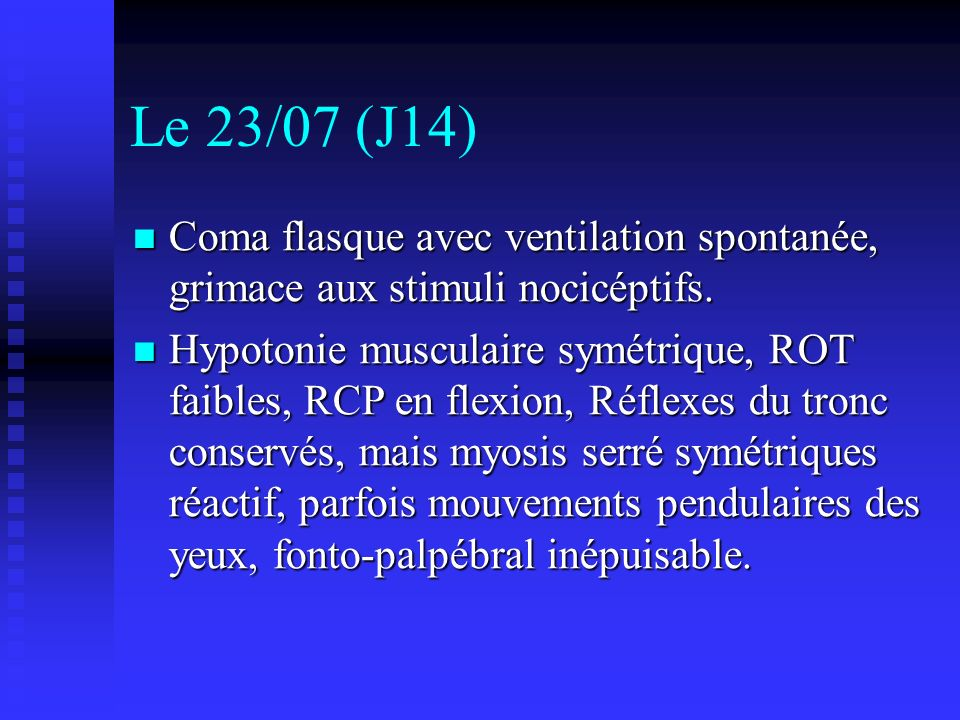 Le 23/07 (J14) Coma flasque avec ventilation spontanée, grimace aux stimuli nocicéptifs.