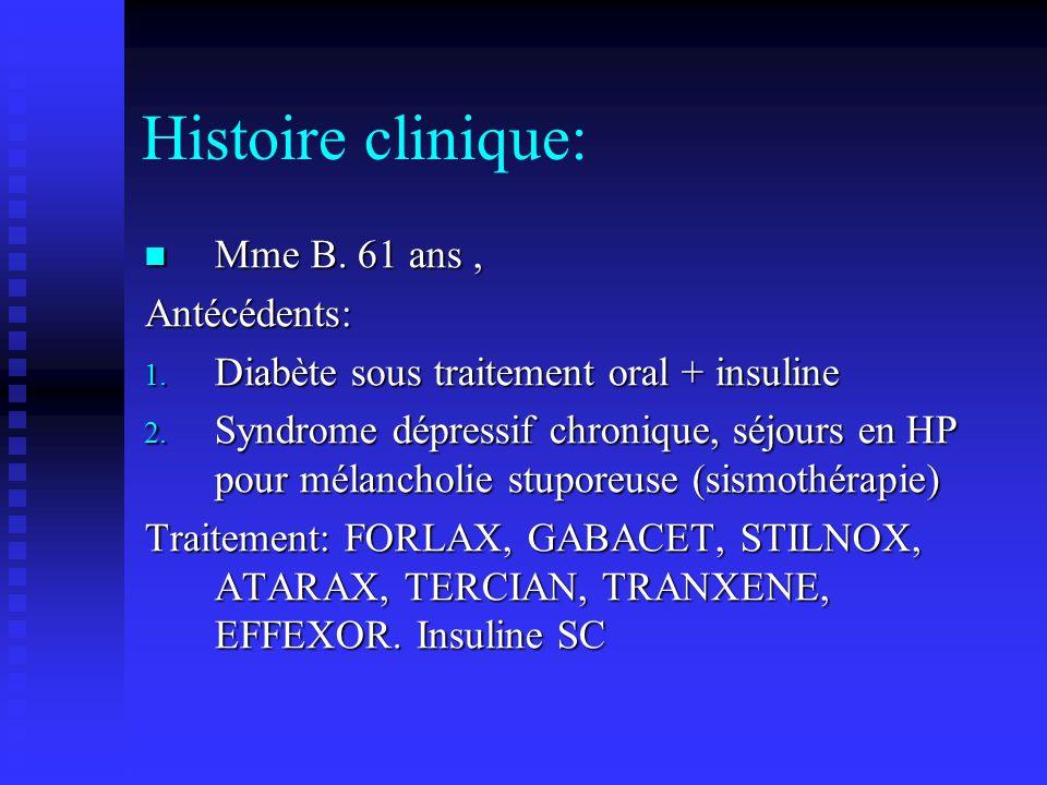 Histoire clinique: Mme B. 61 ans , Antécédents:
