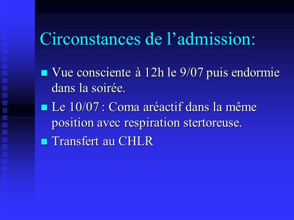 Circonstances de l'admission: