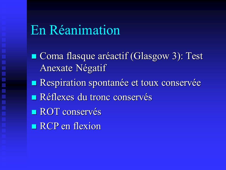 En Réanimation Coma flasque aréactif (Glasgow 3): Test Anexate Négatif