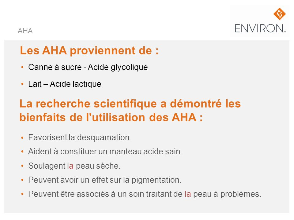 Les AHA proviennent de :