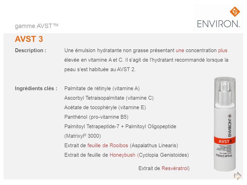 gamme AVST™ AVST 3. Description : Une émulsion hydratante non grasse présentant une concentration plus.