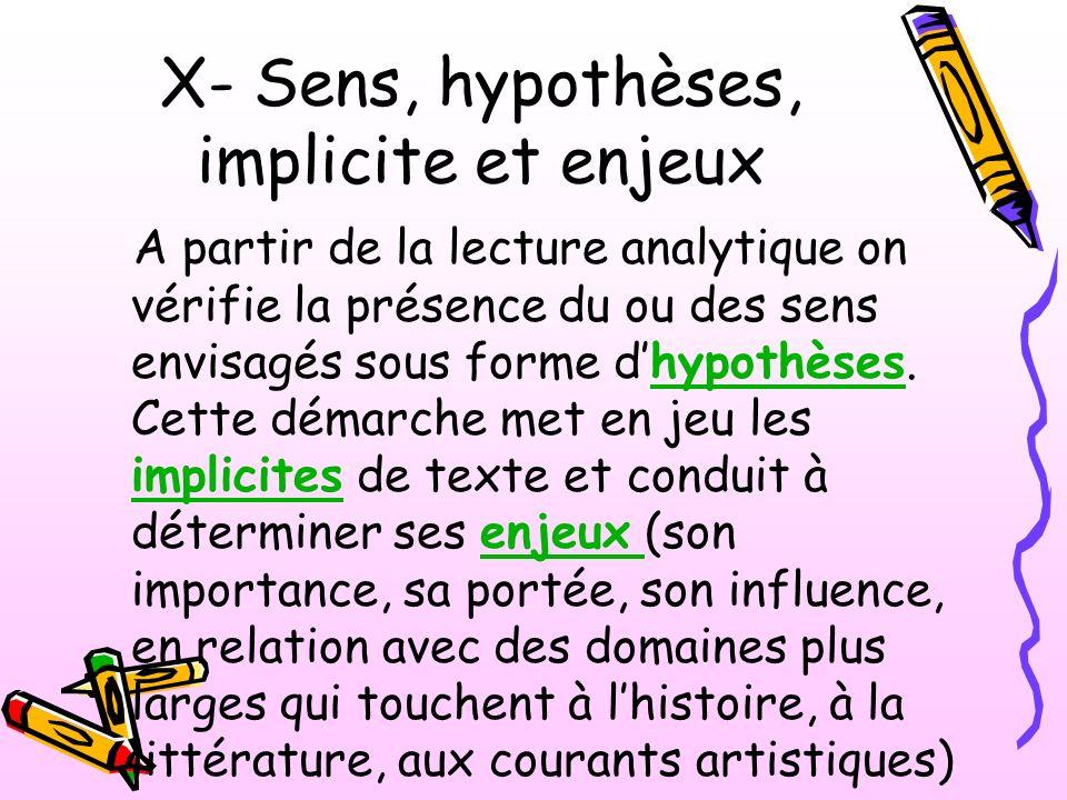 X- Sens, hypothèses, implicite et enjeux
