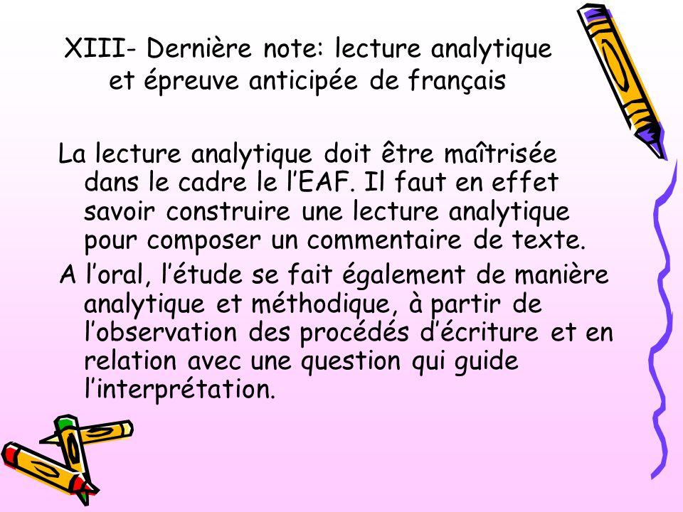 XIII- Dernière note: lecture analytique et épreuve anticipée de français