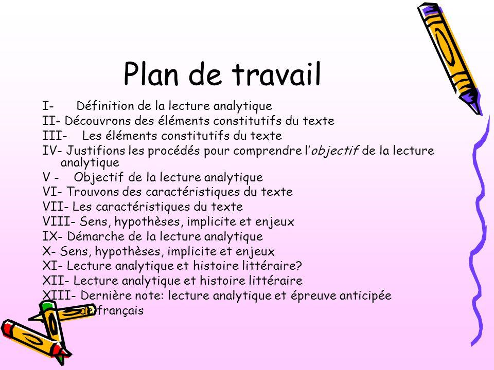Plan de travail I- Définition de la lecture analytique